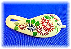 Hand Painted Lucite Bakelite Hair Slide