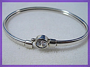 Sterling Silver CZ Bangle Bracelet (Image1)