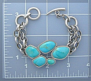 Sterling Silver Large link Turquoise Bracelet Toggle Cl (Image1)