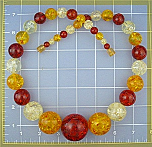 Necklace  Amber Gold Yellow Clear 24 Inches Graduated (Image1)