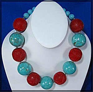 Turquoise Cinnabar Beads Sterling Silver Clasp (Image1)