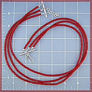 Coral 3 Strand Sterling Silver Hook Clasp Necklace (Image1)