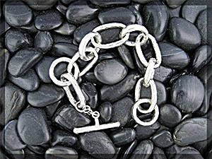 Sterling Silver Large link Toggle Clasp Bracelet (Image1)