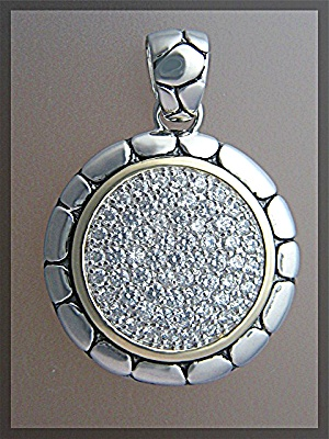 Sterling Silver Pave CZ Pendant John Hardy Look. (Image1)