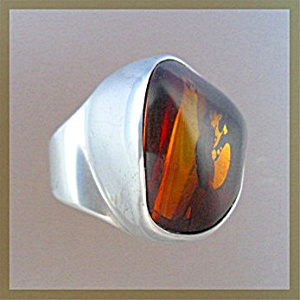 Ring Amber And Sterling Silver By Starborn