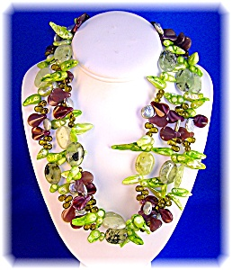 Freshwater Pearl Adventurine Peridot Agate Necklace