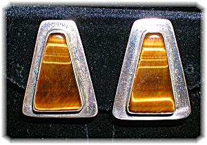 Silver and Tigerseye Bezel Set clip Earrings (Image1)