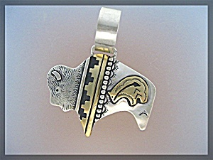 Tommy Singer Buffalo Pendant Sterling Silver and Gold (Image1)