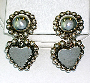 Taxco Mexico Sterling Silver Heart Ball Dangle Clip Ear