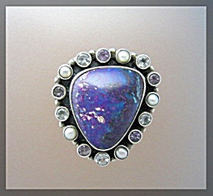 Turquoise Pearl Peridot Amethyst Sterling Silver Ring (Image1)