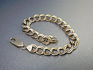 14k Gold Double Link Bracelet 7 1/2 Inches