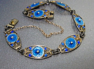 Filigree 800 Silver Blue Enamel Bracelet Safety Chain