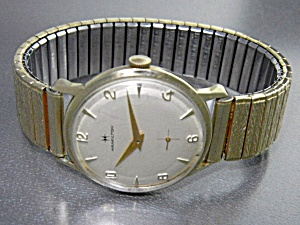 Hamilton 10k Gold Plate Bezel Wind Up Wristwatch