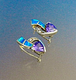 Opal Tanzanite Cz Sterling Silver Gold Vermeil Earrings