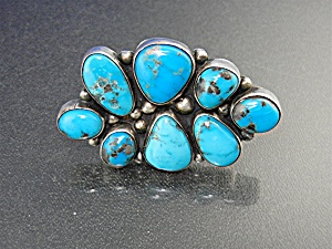 Navajo Sterling Silver Kingman Turquoise Ring Bea Tom