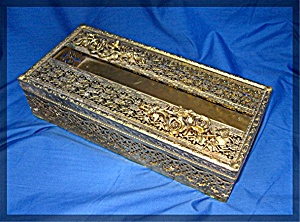 Tissue Box Holder, Vintage Gold Ormolu Filigree (Image1)