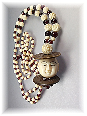 Bone  Ivory Garnet Bone Brass Necklace (Image1)