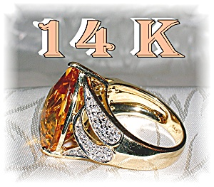 14 K Gold Pear Shaped Citrine, Diamond Ring . . . .