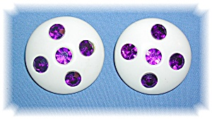 PURPLE RHINESTONE, LUCITE CLIP EARRINGS..... (Image1)