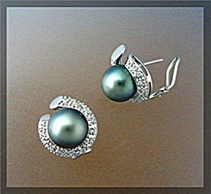 Earrings 14K White Gold Diamond Tahitian Pearl French C (Image1)