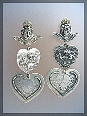FOREE Silver Angels Hearts Valentine Clip Dangle Earrin (Image1)