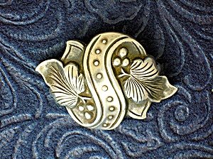 Sterling Silver Antique Double Leaf Brooch And Bedrrie