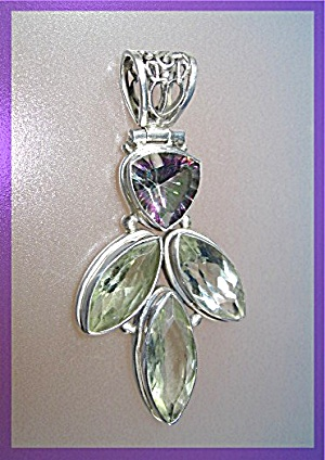 Sterling Silver Green Amethyst Mystic Topaz Pendant (Image1)