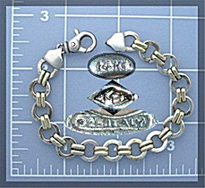 14K Yellow Gold & Sterling Silver Bracelet Italy (Image1)