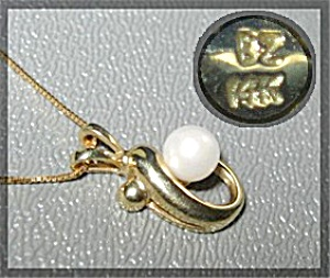 Pendant 14K Gold Necklace 5.6mm Pearl  (Image1)