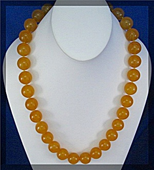 Jade Yellow 20mmbead Necklace Sterling Silver Clasp