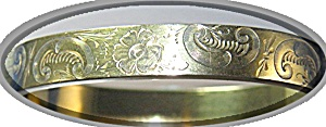 Bracelet Gold Fill Hinged Bangle Flowers Vines (Image1)