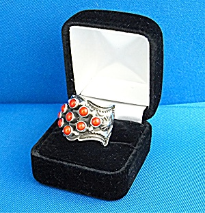 Navajo Sunshine Reeves Sterling Silver Coral Ring
