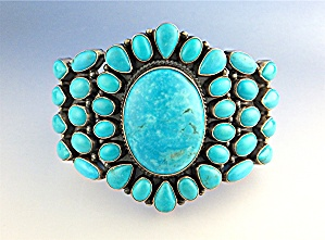KIRK SMITH Sleeping Beauty Turquoise Sterling Silver Br (Image1)