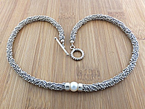 Necklace Sterling Silver Freshwater Pearl Toggle Clasp (Image1)