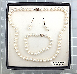 Necklace Freshwater Pearls Bracelet Earrings Sterling S (Image1)