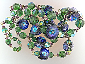 Necklace & Earrings Blue Green Rivoli Crystal  (Image1)