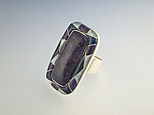 Ring Sterling Silver Russian Charoite Lapis Mother Of P
