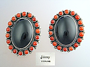 LEO FEENEY Sterling Silver Coral Onyx  Clip Earrings  (Image1)