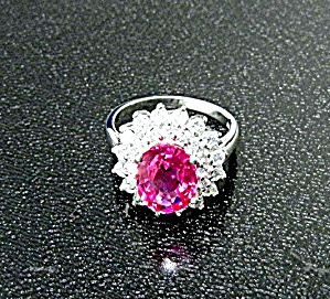 Ring Pink Tourmaline White Sapphire Sterling Silver (Image1)