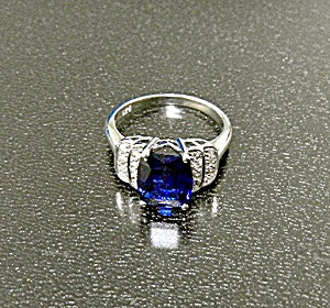 Ring Kashmir Blue Sapphire White Sapphire Sterling Silv (Image1)