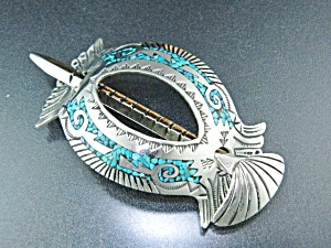 Native American Sterling Silver Turquoise Inlay Pony