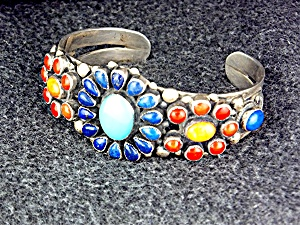 Leo Feeney Sterling Silver Coral Lapis Turquoise Cuff