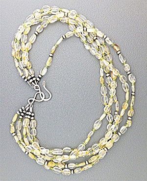 Necklace Citrine Gemstone Beads Sterling Silver Clasp