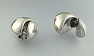 Earrings Sterling Silver Double Dome Clip Signed J (Image1)
