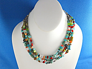 Native American Sterling Silver Turquoise Coral Glass