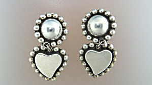 Taxco Mexico Sterling Silver Hearts Clip Earrings