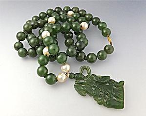 Jade Dark Green Pearls Jade Pendant 14K Gold  (Image1)