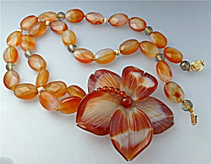 Necklace 14k Carnelian Crystal Beads Flower Pendant