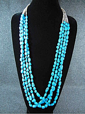 Native American Turquoise 4 Strand Sterling Silver Bead