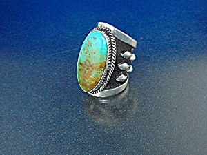 Navajo Pilot Mountain Turquoise Sterling Silver Ring